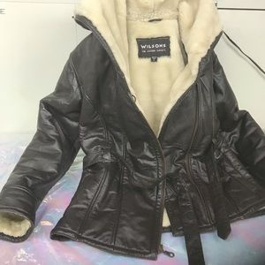 Wilson's Black leather jacket women S Pre-owned